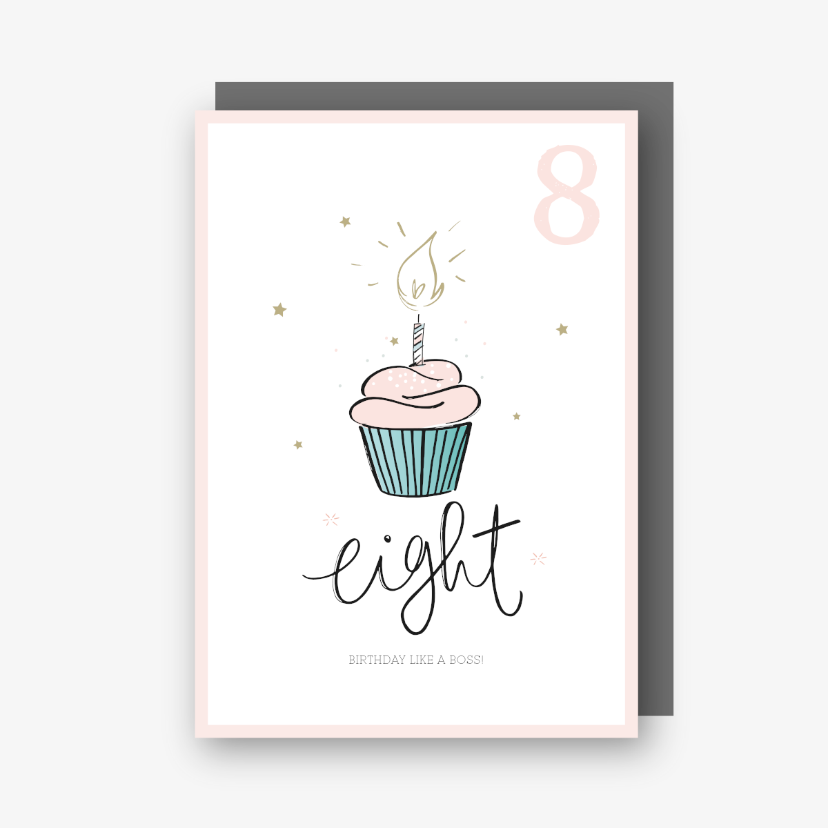 Eight 8th Birthday Card Cupcake (Pink)
