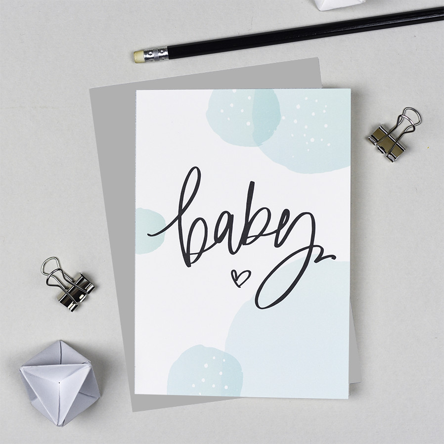 Baby Greeting Card - Mint Bubbles