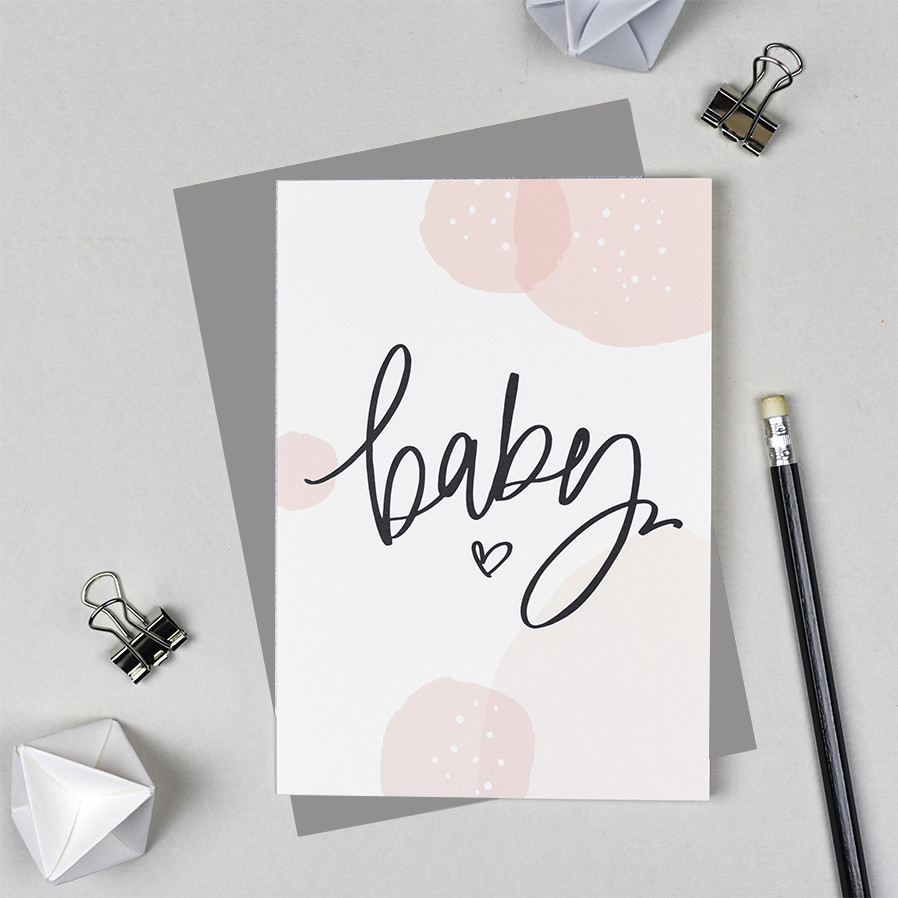 Baby Greeting Card - Pink Bubbles