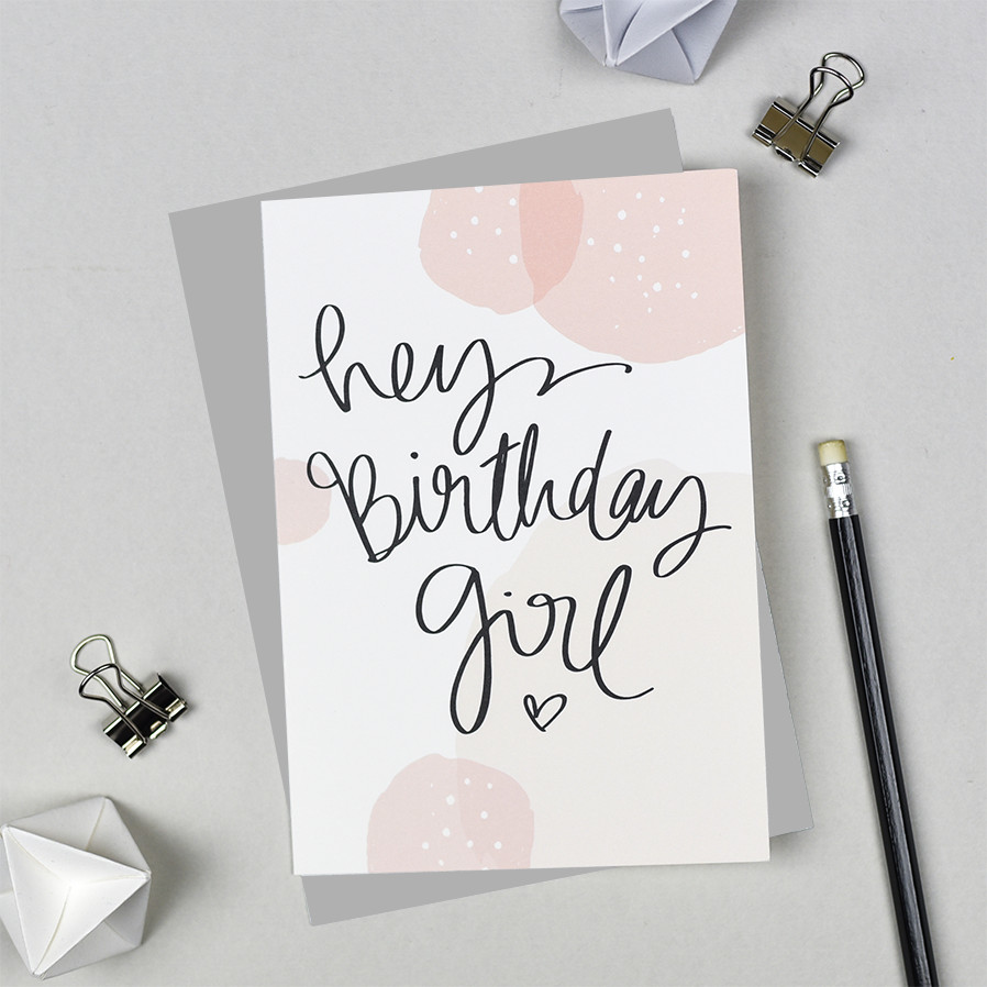Hey Birthday Girl Card - Pink Bubbles