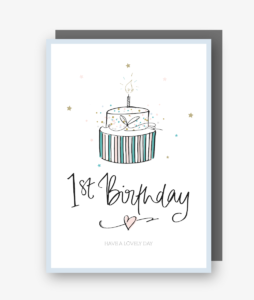 One - 1st Birthday Card in Blue