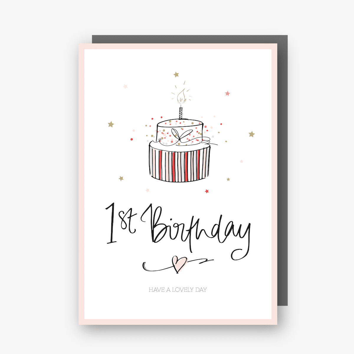 One - First Birthday Card in Pink